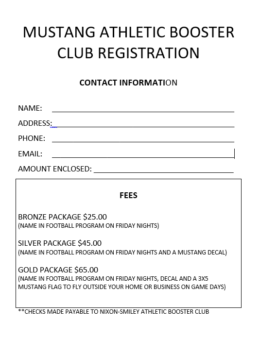 Booster Club Registration